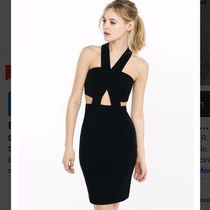 EXPRESS M BLACK CUT-OUT CRISSCROSS RIBBED DRESS